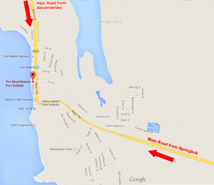 Map to the Beachhouse in Port Nolloth